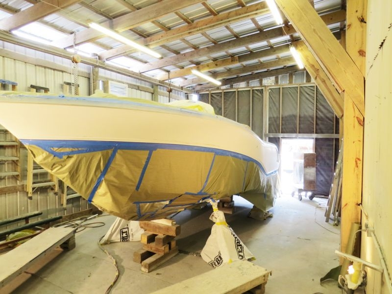 Taping-off to separate colors, requires care and a steady hand. Protecting each area of the hull from overspray and direct paint requires multiple stages of taping and masking during the painting process. Clean up of tape residue is a mandatory chore throughout the project.